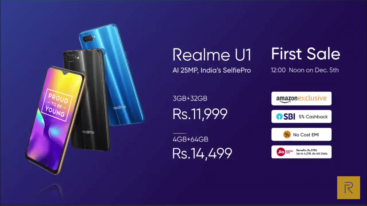 Realme U1 launched in India with dedicated 25MP front camera