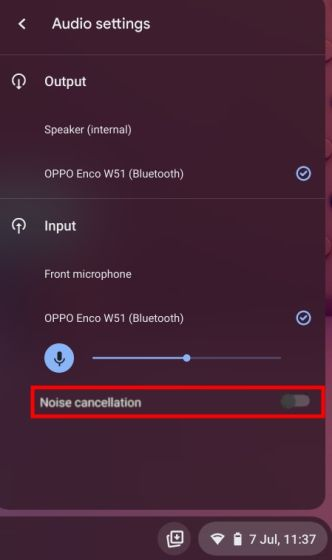NOISE CANCELLATION IN CHROME OS